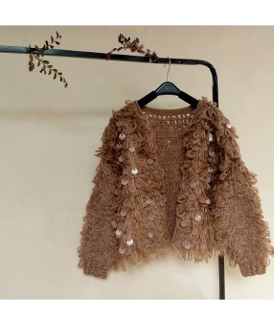 Winter Korean Women Tassel Mohair Cardigans Sweater Coat Female Long Sleeve Sequins Cadigans Jacket Tricot Femme Tops - coff...