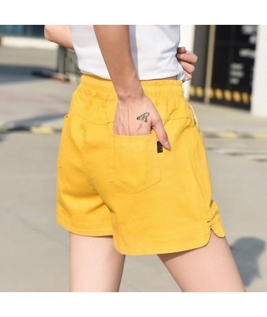 2019 European and American summer shorts women female high waist linen shorts women plus size loose elastic waist shorts - o...