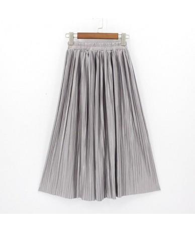 2018 New Women High Waist Pleated Maxi Skirt Fashion Bling Metallic Silk Korean Tutu Skirt Elastic Plus Size Long Skirts Sai...