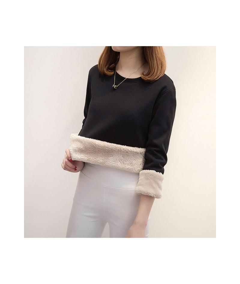 Lamb Cashmere Thick Warm Sweatshirt Female Head Winter Loose Plus Velvet Lamb Hair Hoodies Femme Warm Solid Color Tops MZ317...
