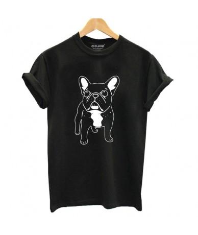 Cotton french bulldog print t shirt women casual dog print t-shirt for girls summer women tshirt tops - DOZ0105-BLK - 453972...