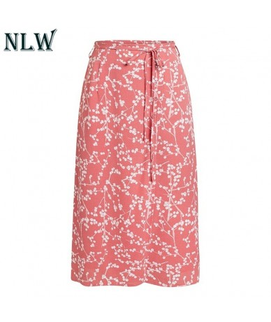Print Bow Wrap Button Casual Skirts Straight Bodycon Women Skirt High Waist Midi Mujer Skirts - Pink - 4H3072743116-2