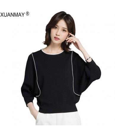 2019 Brand Design Black Casual Women Top T-Shirt Spring V-neck Pure White Knit Top Elegant Black ladies knit Top T-shirt - b...