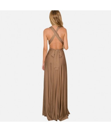 27 Colors Summer Sexy Maxi Party Dress Multiway Swing Dress Fashion Sleeveless Convertible Infinity Robe Wrap Dress - Brown ...