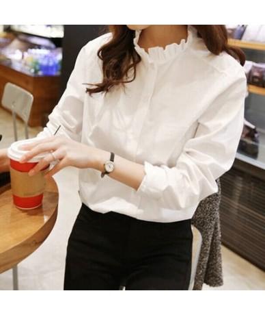 100% Cotton Women White Shirt Ruffled Collar Plus Size Women Work Blouse Lady Clothing Fashion Casual Tops - white - 4H39504...