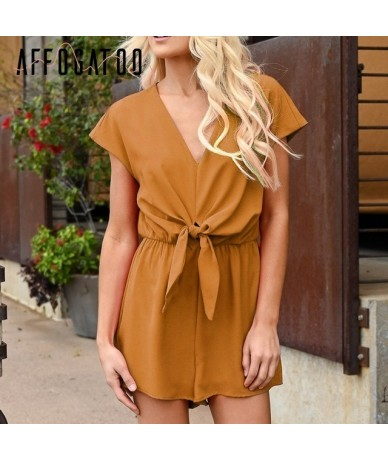Casual Solid lace up short sleeve women jumpsuit romper Loose summer beach style female playsuit Streetwear overalls - YELLO...
