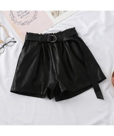 With Belt PU Leather Shorts Women 2019 Autumn New Elastic Bract Waist High Waist Slim Leather Wide Leg pu shorts Women Tide ...