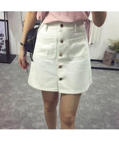 On sale 2019 summer Womens ladies A-line Pencil denim min Skirt High Waist jeans harajuku pockets Skirt black white high qua...
