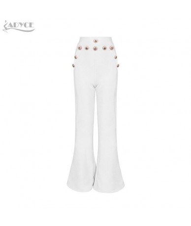 2019 New Summer Women Runway Bandage Pants Fashion White Red Wide Leg Pants Elegant Celebrity Evening Party Pants Trousers -...