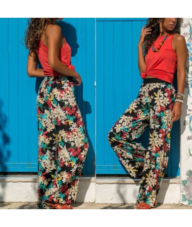 2019 New Women Baggy Harem Pants Boho Hippie Wide Leg Gypsy Palazzo Casual Plus Size Floral Trousers - 4 - 4B3003340085-4