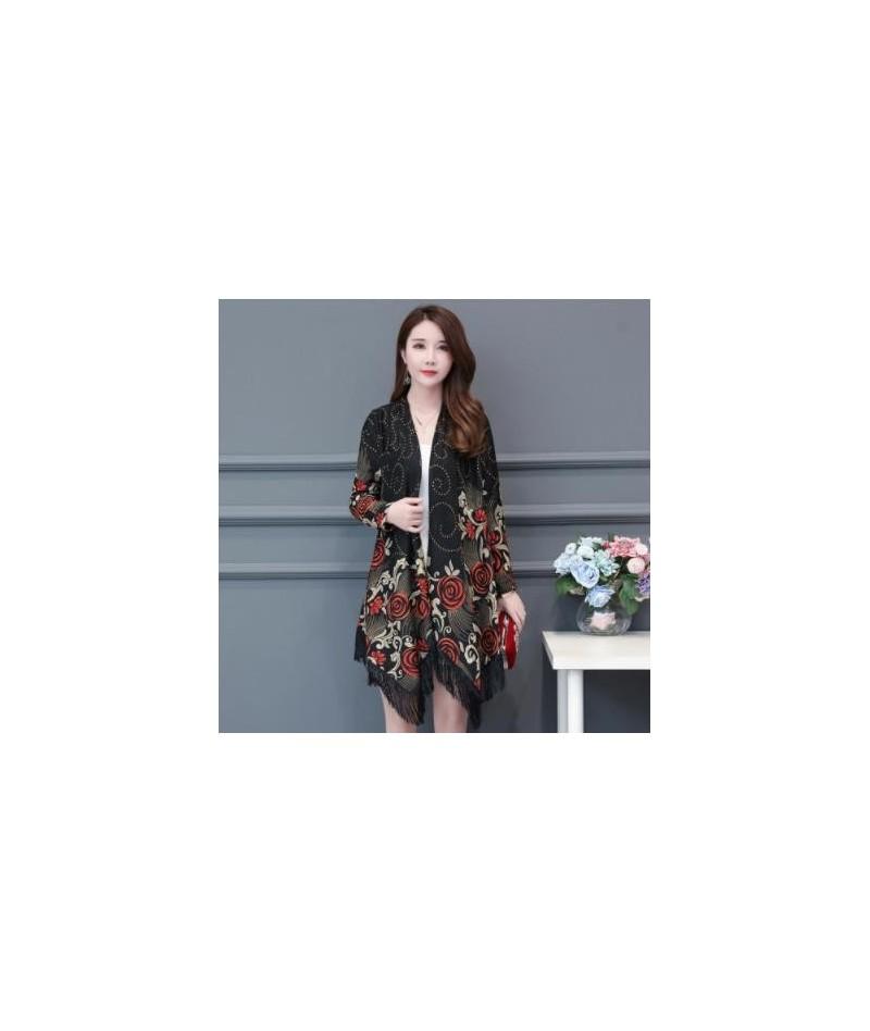 Plus Size 5XL Long Cardigans Women Spring Autumn Elegant Long Sleeve Tassel Outerwear Lady New Casual Loose Print Vintage Co...