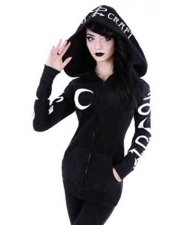 Women Hoodies Gothic Punk Moon Letter Print Sweatshirts 2018 Autumn Winter Long Sleeve Black Jacket Zipper Coat Casual Hoody...