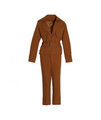 OL Style Women's Suit Lapel Collar Long Sleeve Jacket High Waist Pants Two Piece Set Female 2019 Autumn Fashion New - camel ...