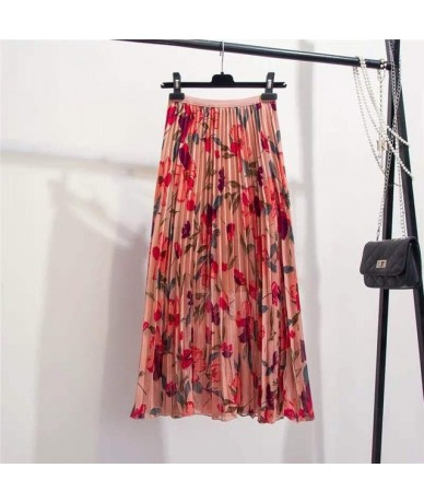 Women Print Flower Chiffon Mid-calf Skirts Women High Waist Pleated Skirt 2019 Summer Loose Casual Print Skirts - Pink - 4A4...