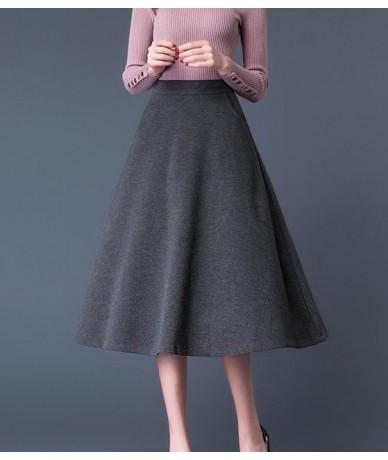 2019 Plus Size High Waist Thicken Woolen Mid Skirts Womens Autumn Winter Office Lady Wool Skirt Black Pocket Woolen Skirt Fe...