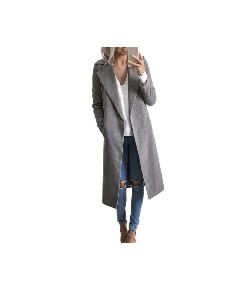Solid Color Lapel Mid-length Wool Jacket Women Solid Color Autumn and Winter Clothes - Gray - 443081289709-2