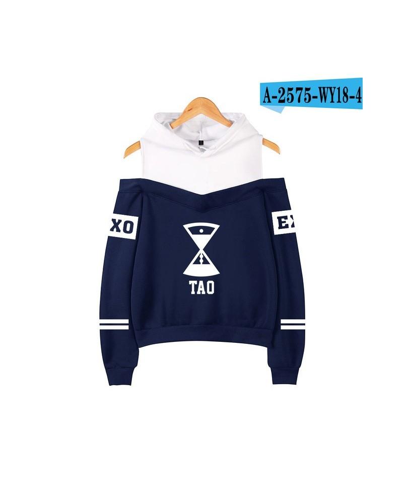 EXO Off-Shoulder Hoodies Popular Print Women Clothes EXO Harajuku Sweatshirts Kpop Long Sleeve Tao KRIS Hoodies Sweatshirts ...