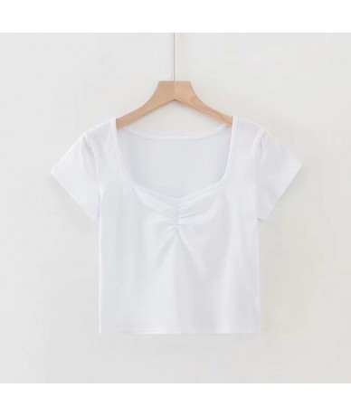 Women Fitted Tee with Ruched Detailing On The Chest Ruched Bust Crop Top - white - 4I4132064376-1