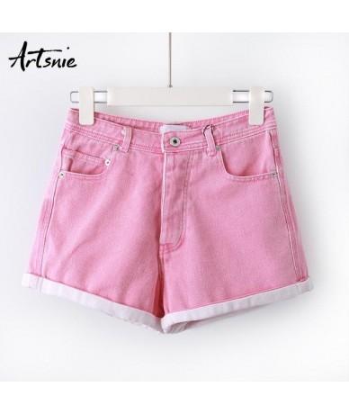 streetwear casual denim women shorts mujer summer 2019 high waist double pockets button jeans boyfriend shorts femme - Pink ...