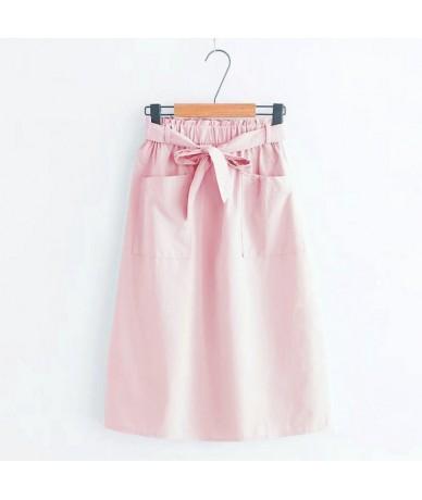 2019 Womens Elastic High Waist A-line Long Skirt Leisure Female Lace-up Double Pocket Skirts Faldas Mujer Jupe Femme - Pink ...