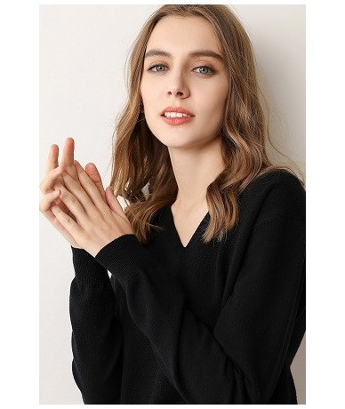 New 2019 Autumn-Spring Fashion Women Sexy V-neck Knit candy color Sweater Outerwear Pullover Tops Knitted Cashmere Sweater W...