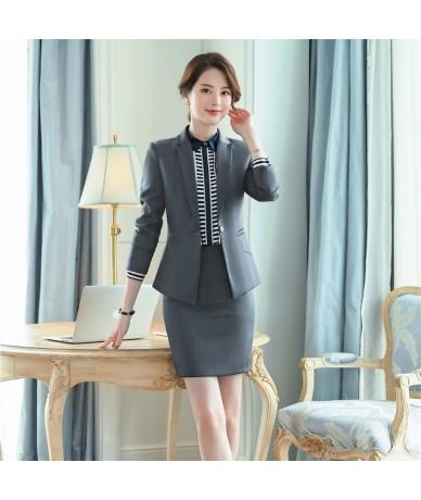 Formal Ladies Work Wear Blazer Women Business Suits with Skirt and Jacket Sets Office Uniform Styles Navy Blue - Dark Grey -...