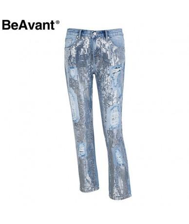 2018 Spring sequin ripped jeans women Streetwear hole zipper fringe jeans pants Summer casual loose denim trousers femme - L...