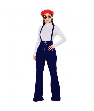 Backless Spaghetti Strap Casual Jumpsuits Female Wide Leg Pants Spring Winter Sexy Overalls Rompers Womens Jumpsuit - blue -...