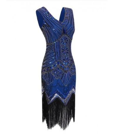Women 1920 s Vintage Great Gatsby Dress Sequins Dress V-Neck Tassels Bodycon Beaded Ballroom Latin Dance Dress Party Dress -...