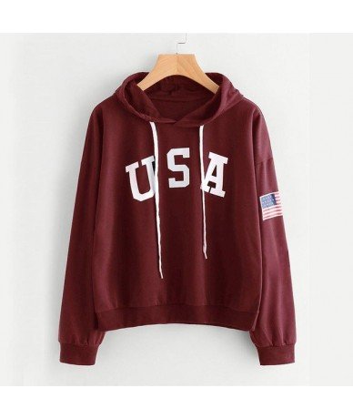 Womens Casual Loose Sweatshirt Tops Women's Hoodies New Arrival Hot Printing Letters Long-sleeved Pullovers - red - 4M415972...