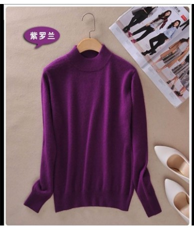 2019 Fashion Cashmere Blended Knitted Sweater Women Tops Autumn Winter Turtleneck Pullovers Female Long Sleeve Solid Color -...