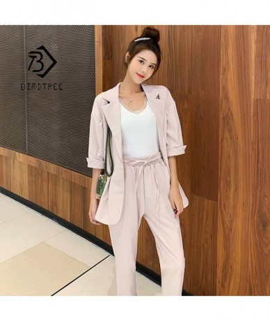 New Arrival Women Notched Pants Suit Batwing Sleeve Oversize Blazer High Elastic Waist Pants Casual Pink 3 Piece Set S96106F...