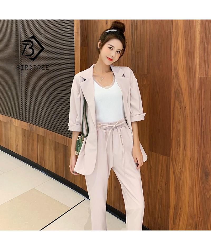 New Arrival Women Notched Pants Suit Batwing Sleeve Oversize Blazer High Elastic Waist Pants Casual Pink 3 Piece Set S96106F...