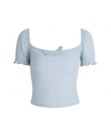 Women Deep Square Collar Rib T-Shirt with Puff Sleeve - blue - 4B3971815108-4