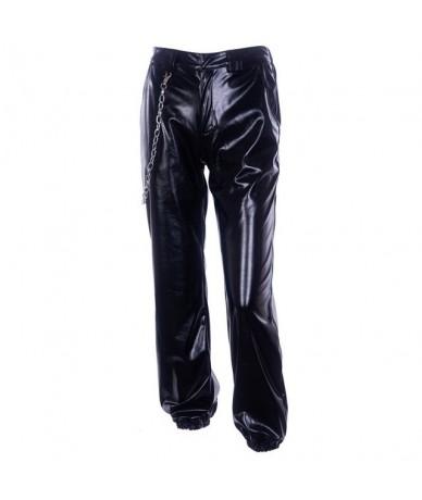 Harajuku Autumn winter PU Leather loose Streetwear trousers women punk GIA Black high waist pants hip hop sweatpants pantalo...