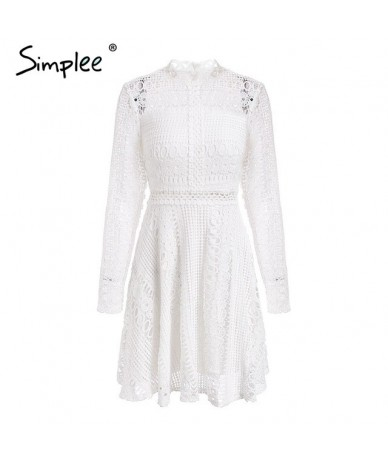 Lace red sexy short dress women female Elegant long sleeve embroidery ladies dress Spring party dress festa robe femme - Whi...