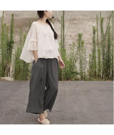 2019 Summer Cotton Linen Pants Elastic Mid Waist Solid Color 2019 Women New Vintage Ankle-Length Wide Leg Pants - Multi - 4J...