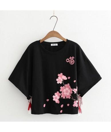 2019 Women's T-Shirt Summer O-Neck Harajuku Tee Pink Flower Printed T Shirts Short-sleeve Top Bottoming Fashion Tee Shirt Gi...