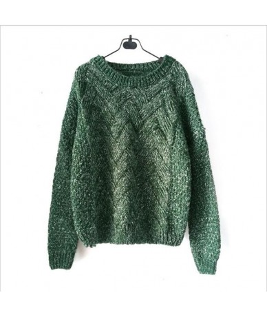 2019 Women Pullover Female Casual Sweater Plaid O-neck Autumn and Winter Style - Green - 443598887094-4