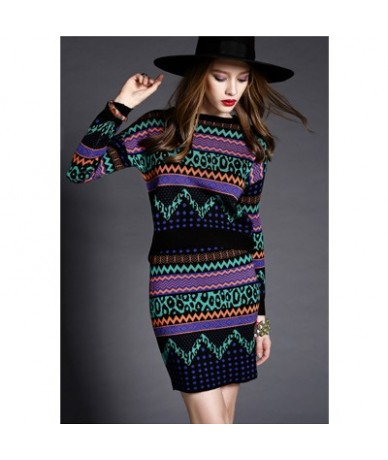 2018 Women Knitted Sweaters Skirts 2pcs Suits Long Sleeves Waved Pattern Black Female Woman Sweater Tops+Skirt Sets Hots S7D...