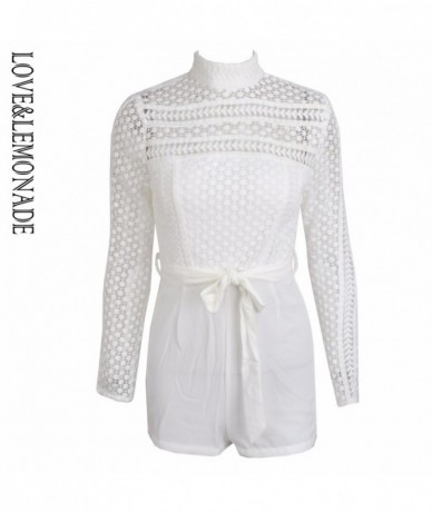 Fit Geometric Figure Lace High Collar Belt Long Sleeves Playsuit LM0338 - WHITE - 32833386225