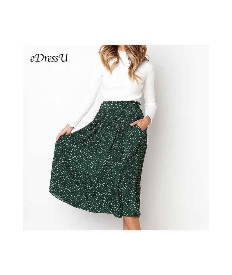 2019 Women Pleated Skirt High Quality Polka Dot Print Midi Skirt Pocket Yellow Green Girl Summer Autumn Skirt eDressU CLX-10...