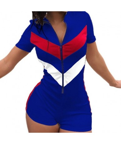 Sexy Zipper Short Sleeve Stitching Color Shorts Bodysuit Playsuit Casual Black Blue White Women Jumpsuit Sexy Shorts Rompers...