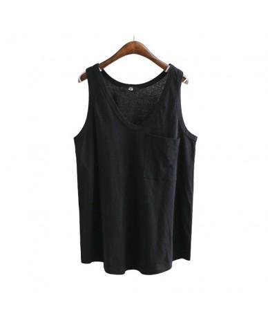 Spring V Neck Vest Top For Women Patchwork Pocket Loose Slim Female Tank Vests 2019 Fashion Casual Clothing - Black - 4G3097...