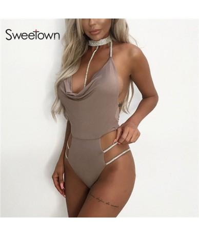 2019 Backless Sexy Body Women Black Diamond Choker Chic Combinaison Femme Khaki Off Shoulder Bodycon Bodysuit Clubwear - kha...