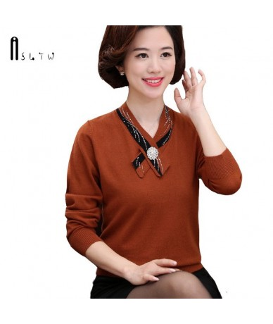 Women's Sweater New Spring Long Sleeve Sweater For Women V Neck Women Pullovers Knitwear Solid Pull Femme Pullover - Brown -...