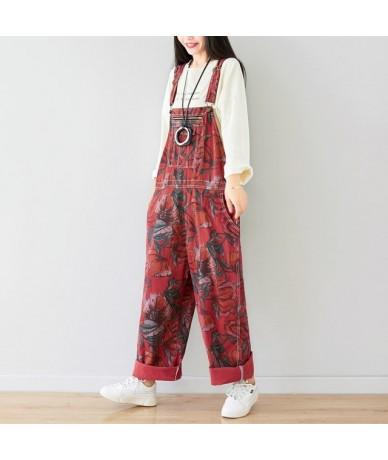 Casual Drop Crotch Jumpsuits Europe Boyfriend Big Size Wide Leg Baggy Cowboy Bib Trousers Streetwear Printed Denim Overalls ...