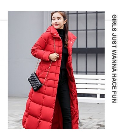 Padded Warm Down Jackets Womens Winter Plus Size Long Quilted Black Hooded Fur Coat Jacket 2018 Parkas for Women WP013 - red...
