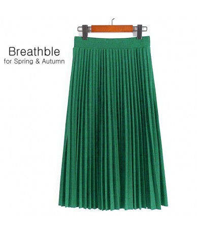 Fashion Women's High Waist Pleated Solid Color Length Elastic Skirt Promotions Lady Black Pink Party Casual Skirts - Jade Gr...