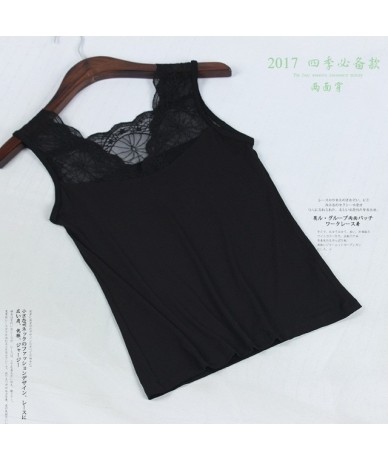 New Lace Tank Tops Female Sexy V-neck Vest Hollow Out Solid Club Tops Women Black Beige T Shirt Cotton Polyester Tank Top - ...